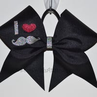 3 Wide Luxury Cheer Bow  I love Mustache by BowsWithAttitude