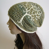 Slouchy Hat with Embroidered Tree  Green Blue Yellows by LoveFuzz