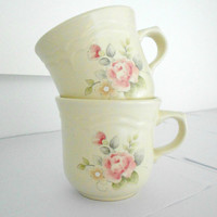 Pfaltzgraff Tea Rose stoneware teacups set of two