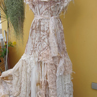 RESERVED...vintage inspired shabby bohemian gypsy dress ..