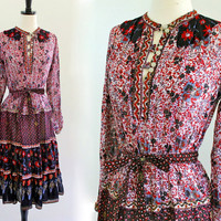 70s India Indian Ethnic Cotton Paisley Gypsy Boho Hippie Festival Dress . XS . small . D173