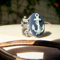 Anchor Cameo Ring Small Navy Blue Nautical by DeadlyRomanticGirl
