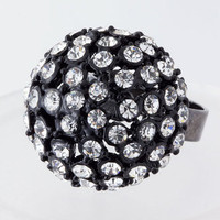 NEW Crystal Black Dome Fashion Jewelry Ring - Size Selectable