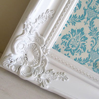 MAGNET BOARD Ornate Picture Frame Aqua Teal Damask Nursery Decor Wedding Sign Baby Gift Babyshower Decoration Picture Display Vintage
