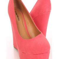 Coral Faux Leather Closed Toe Platform Wedges @ Amiclubwear Wedges Shoes Store:Wedge Shoes,Wedge Boots,Wedge Heels,Wedge Sandals,Dress Shoes,Summer Shoes,Spring Shoes,Prom Shoes,Women&#x27;s Wedge Shoes,Wedge Platforms Shoes,floral wedges,Fashion Wedge Shoes,S