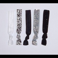 5 Elastic Hair Ties - GLITTER Black Silver - No Dent twistband Emi Bella Jays