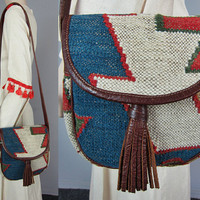 Vintage Wool Kilim Tooled Leather Bag Saddle Indian Handbag Cross Body Shoulder Purse Ethnic India Hippie Boho