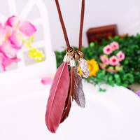 Fashion Bohemian Feather String Pendant Necklace at Jewelry Store Gofavor