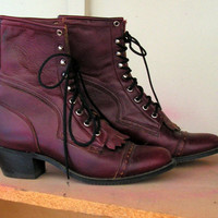 Vintage Capezio Boots Size 9 1/2 M Maroon Plum by retrosideshow