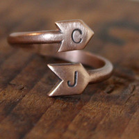 I Got You Babe - Customized With Your Initials - Lover&#x27;s Arrow Ring in Copper