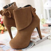 Attractive Platform Stiletto Heels Closed Toe Ankle Women's Boots: tidestore.com
