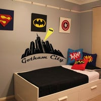 Batman, Gotham City, wall decal, boys room decor, superhero decal, vinyl decal, wall art, wall sticker, by Otrengraving on Etsy