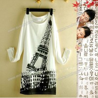 Fashionable Eiffel Tower Print Round Neckline Long Blouse China Wholesale