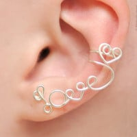 No Piercing Left Ear Cuff LOVE with a heart  silver by KOZLOVA