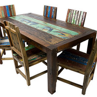 Solid Reclaimed Wood Dining Set by EcologicaMalibu on Etsy