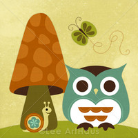41R Retro Owl With Butterfly 6 X 6 .. on Luulla