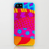 THE HIPSTER - Cool Colorful Vibrant Abstract Mixed Media Trendy Fabric Patterns Illustration iPhone Case by EbiEmporium | Society6