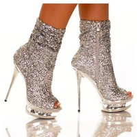 "The Highest Heel DIAMOND Silver Sequins 5 1/2"" Sequin Ankle Bootie w/ Open Toe"