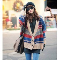 Fashionable Deep V-Neck Bat-Wing Long Sleeves Stripes Lambswool+Cotton Spinning Coat For Women 