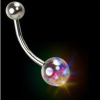 Amazon.com: Flashing LED Light Up Rave Belly Button Ring #B64: Clothing