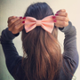 Light Peach Pink BIG hair bow by colordrop on Etsy