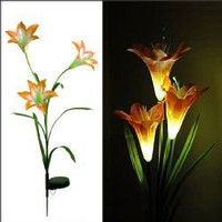 CIS-28077 Beautiful Pole Trigeminal Lily Solar Color-changing LED Garden Light - Orange
