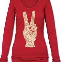 Peace Fingers Long Sleeve Organic T-Shirt: Soul-Flower Online Store