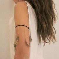 Leather and feather bracelet