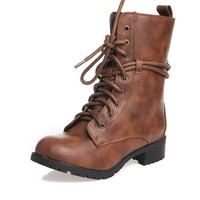 RENEEZE ALICE-02 Women Low Heel Mid-Calf lace up zipper military Boots