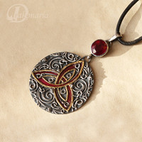 Red Triquetra ruby pendant by drakonaria on Etsy