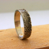Tree Bark Sterling Silver Ring