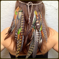 Headband/Hatband // Double strand feathers and organic hemp, tribal, hippie, boho, bohemian, native american
