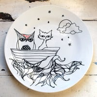 $54.00 Hand Drawn 105 Inch Plate  Owl & the Pussy Cat by InkBandit
