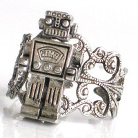 Steampunk MR ROBOT Ring - Antique Silver - Filigree Setting - Miniture Toy Robot - Retro - Geekery - By GlazedBlackCherry
