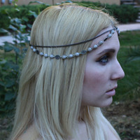 Double strand Gray Bead Bohemian Hair chain, beaded headchain, Chain headpiece, Head jewelry, hair jewelry, Music festival hair accessory