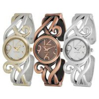 Geneva Platinum Women's Scroll Design Cuff Watch | Overstock.com