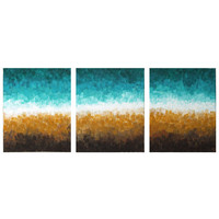 Abstract Painting, ROCKY SHORELINE, Set of 3 8x10 Canvas Paintings, Office Art