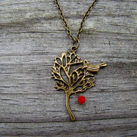 perched bird red  antique brass necklace by MamasNestDesigns