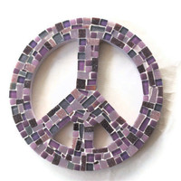 Purple Mosaic Peace Sign