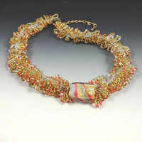 Necklace Murano Glass Gold White Coral Seedbead Loops Handmade