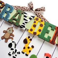 Zoo Animal Name Sign 7 Letters Custom Hand by SarasHandmades