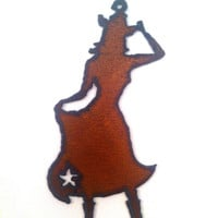 Rustic, Rusty, Recycled Metal Cowgirl with Star Skirt and Hat Large Ornament Pendant Wedding Favor Christmas Ornament Jewelry Supplies