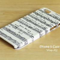 iPhone 5 case - Music notes /  Musical iPhone 5 case/ Beige iPhone case / Decoupage iphone case