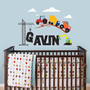 Construction Scene and Custom Name, Tractor, Truck, Crane Wall Decal for Baby Nursery or Children's Room
