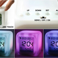 Hot Sale Cute Dice Shapes Healthy Changing Rainbow Color Alarm Clock China Wholesale - Sammydress.com