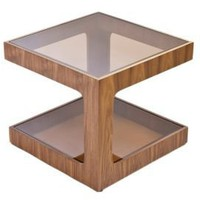 One Kings Lane - Pangea - Meaze End Table, Walnut