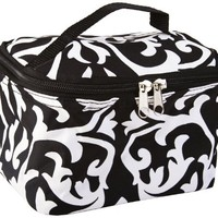 Cute! Cosmetic Makeup Bag Case Damask Print Black White Small