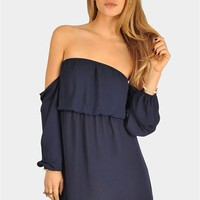 Perfection Off The Shoulder Dress - Navy