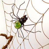 Spider Web Driftwood Desk Ornament in Nature