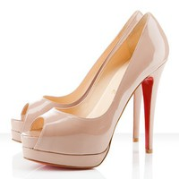Altadama Patent Leather 140mm Peep Toe Pumps Nude